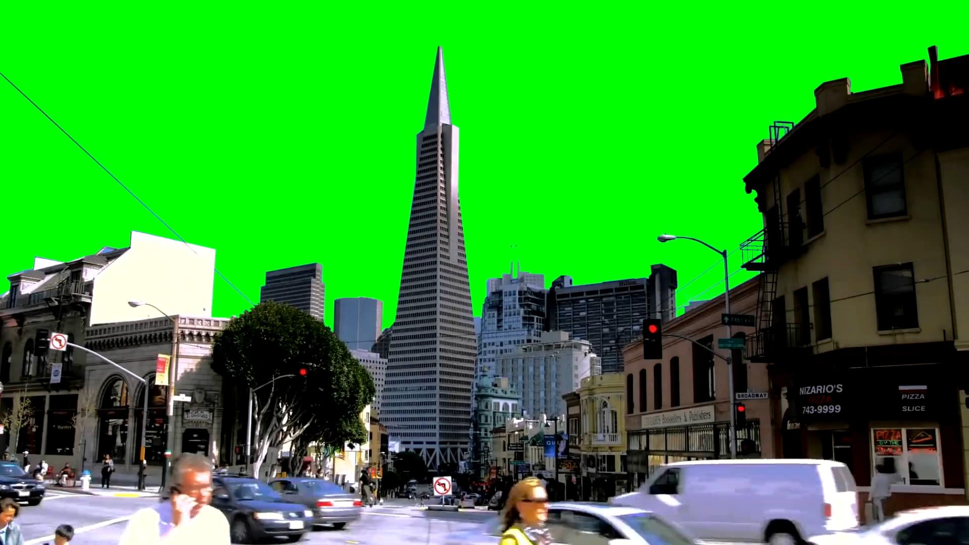 绿屏抠像车辆人群涌动的城市