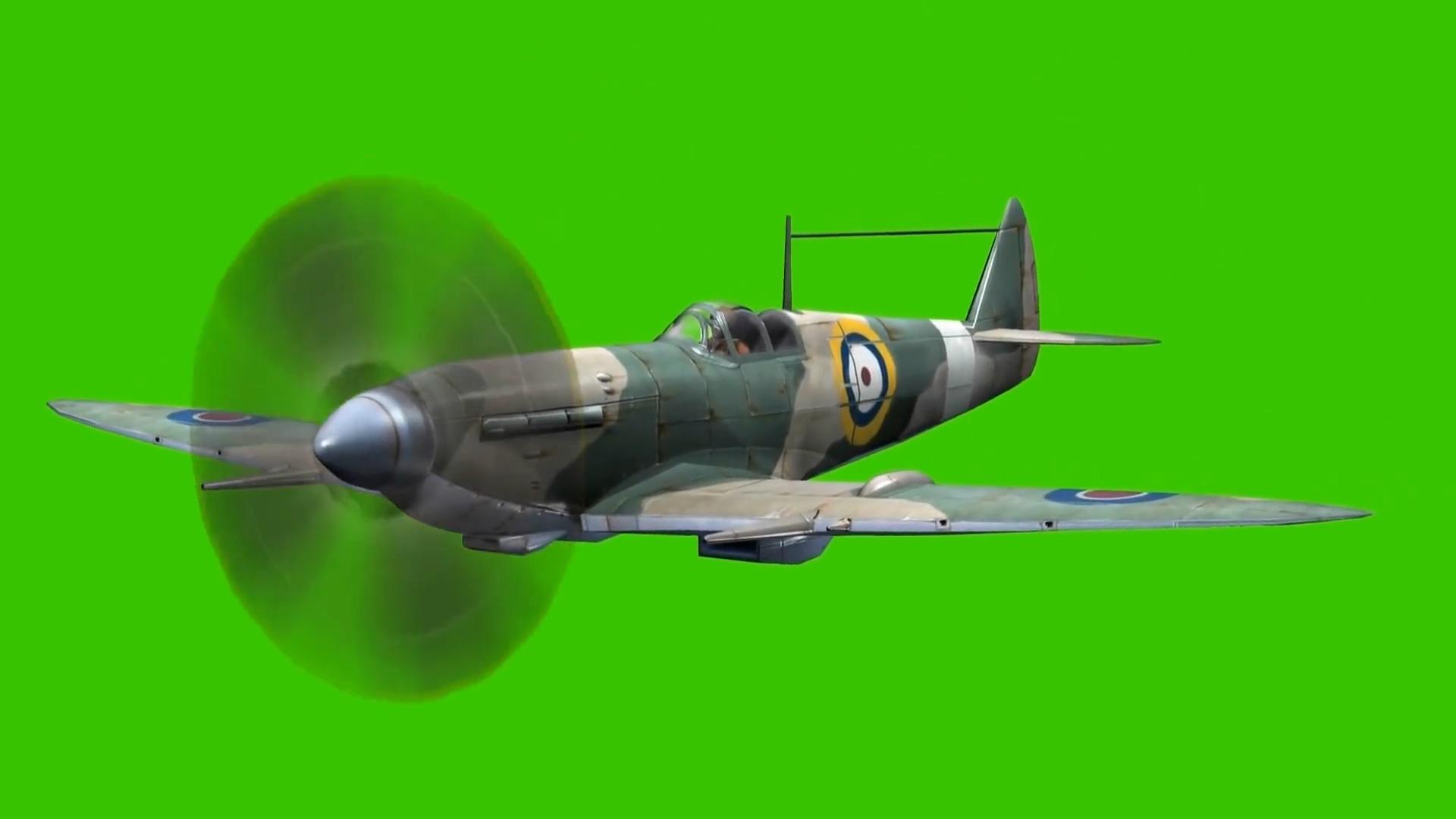 绿屏抠像老式二战战斗飞机