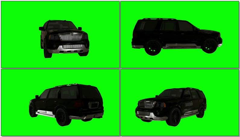 绿屏抠像黑色林肯汽车