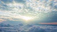 天空云层升起太阳地平线风景实拍视频素材