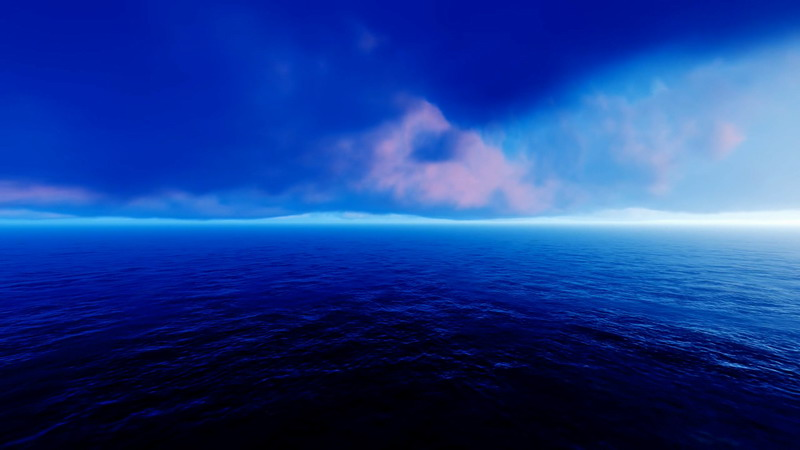 \[2K\]蓝色的云层和大海